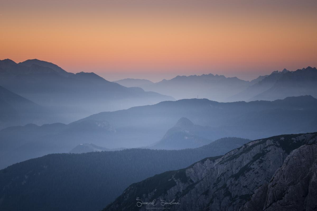 Awesome warm glow before sunrise near Tre Cime di Lavaredo.