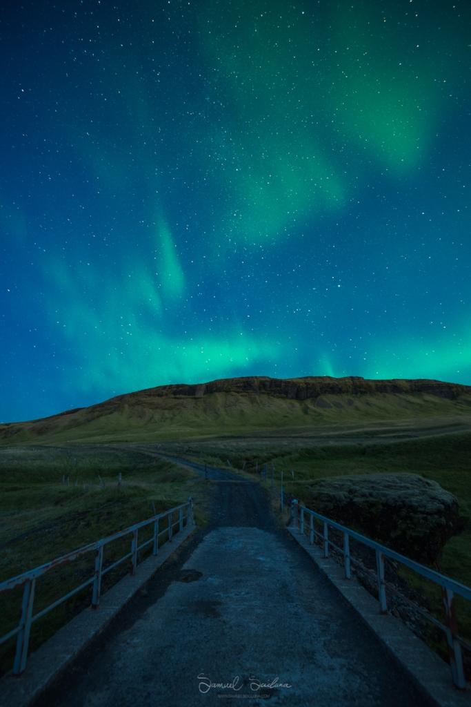 The Northern Lights (Aurora Borealis) over Fjaðrárgljúfur canyon.