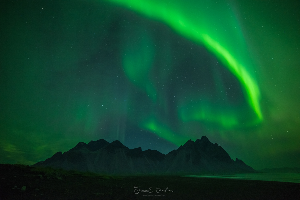 What a show! Auroras dancing above Stokksness in Iceland!