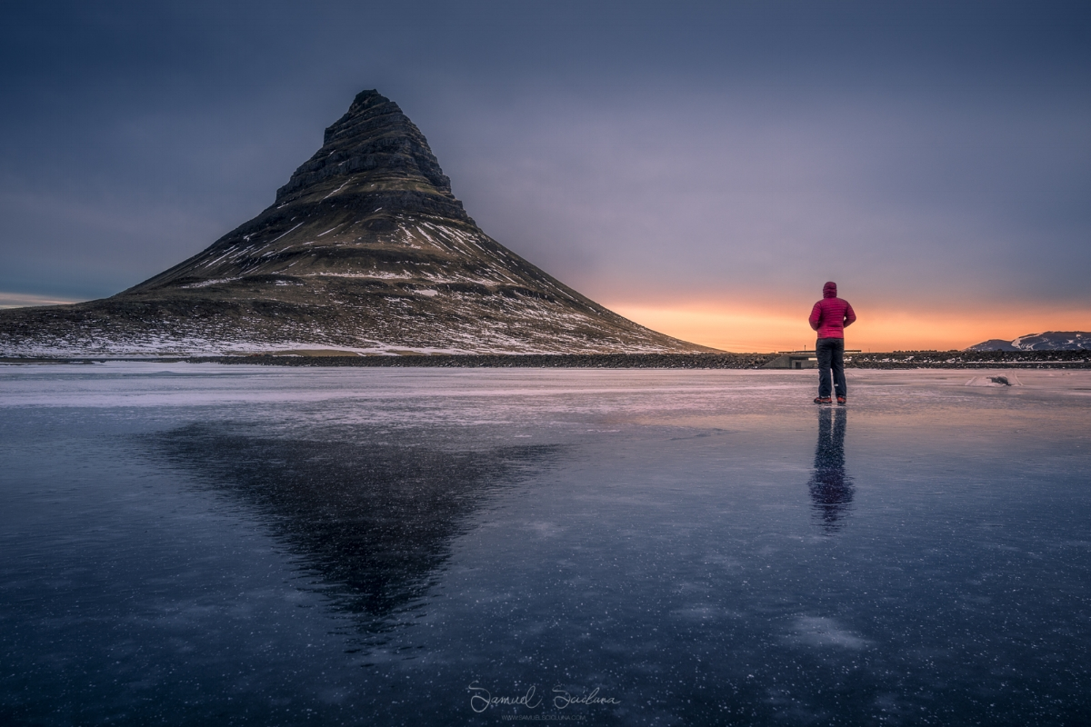 A selfie from the frozen lake near Kirkjufell at sunrise.