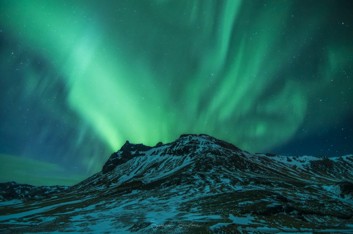 The Aurora over Hatta mountain, near Vík í Mýrdal.