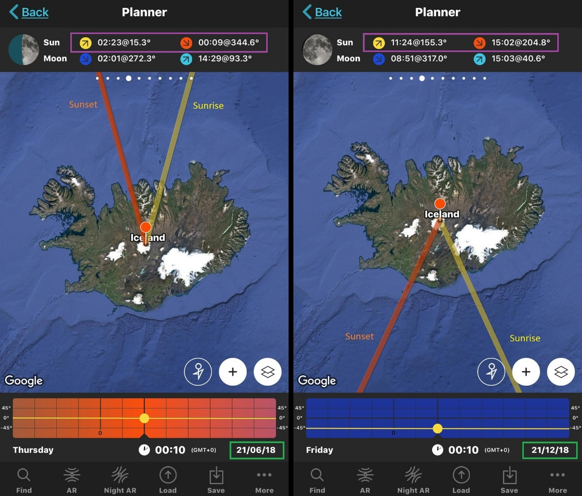 Screen grabs of the App 'Photopills' showing an example of variation in sunrise and sunset times and Azimuths at the two Equinoxes.  Left: At the summer Equinox (21st June) sunrise is at 02:23AM and sunset is at 00:09AM - That's a really long day!  Right: At the winter Equinox, sunrise is at 11:24AM and sunset is at 3:02PM. That's a really short day!