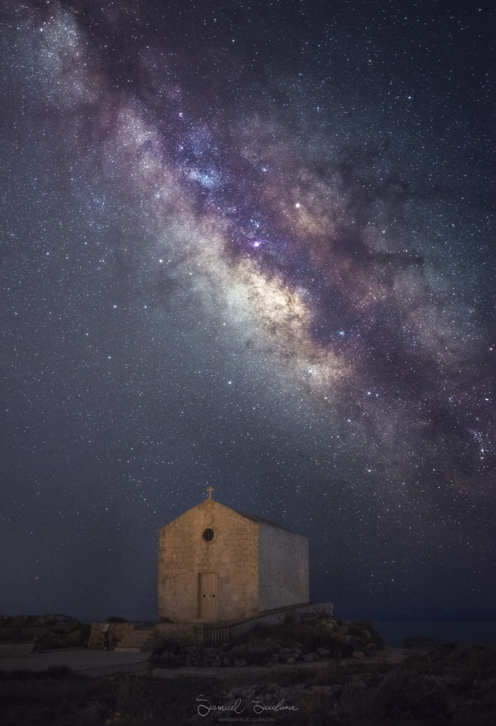 The result: The Galactic Center (Core) of the Milkyway behind the chapel of St Mary Magdalene in Dingli.