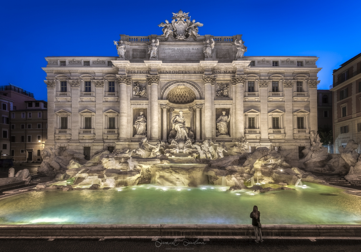 The Trevi Fountain at sunrise.