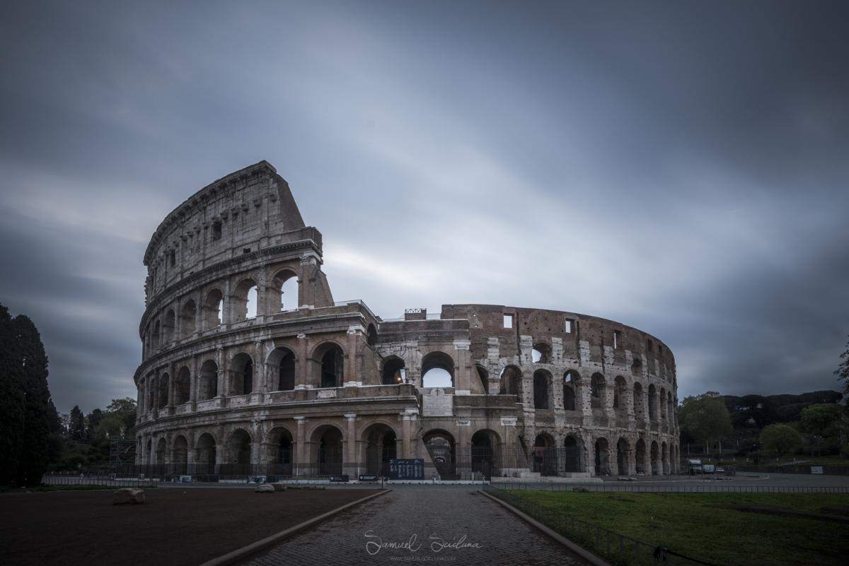 The Colosseum after sunrise, a long exposure was used to smooth out the clouds.