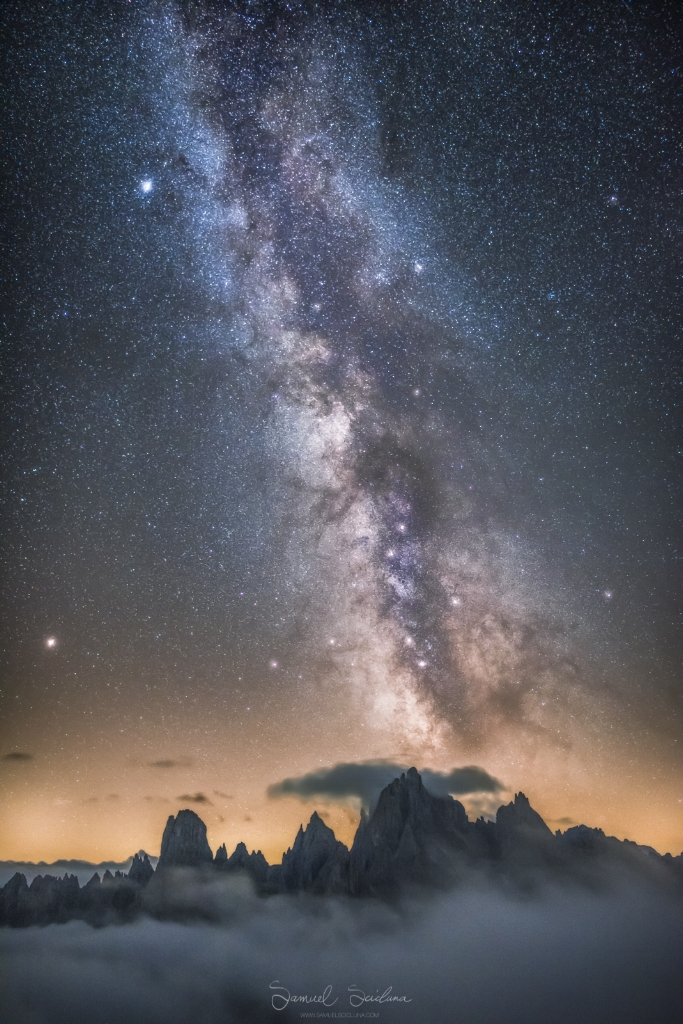 The Milkyway over the Cadini di Misurina in the Dolomites, Italy.