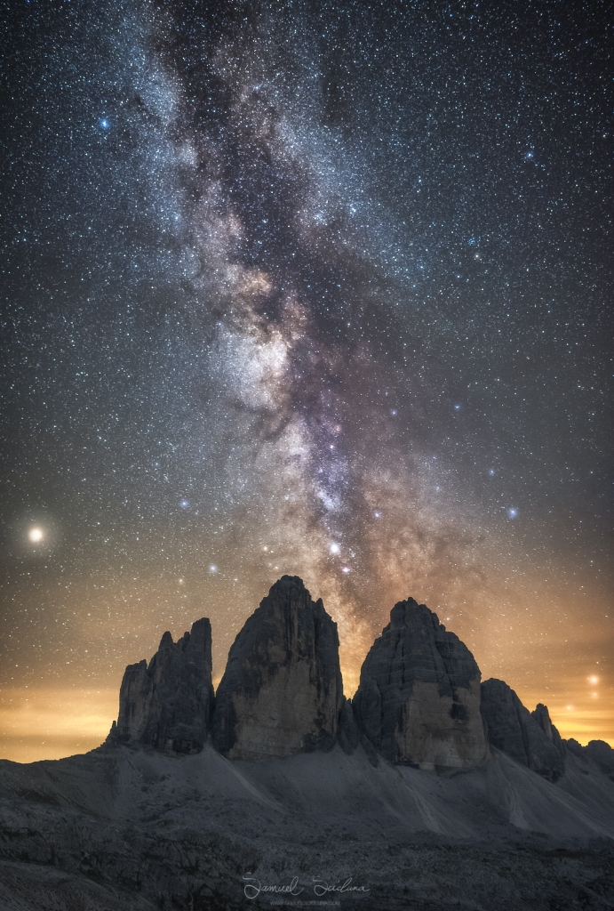 The Galactic Centre of the Milkyway and Mars above the Tre Cime di Lavaredo in the Dolomites, Italy.
