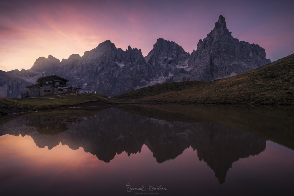 Explosive colors in the sky at Passo Rolle at Sunrise.