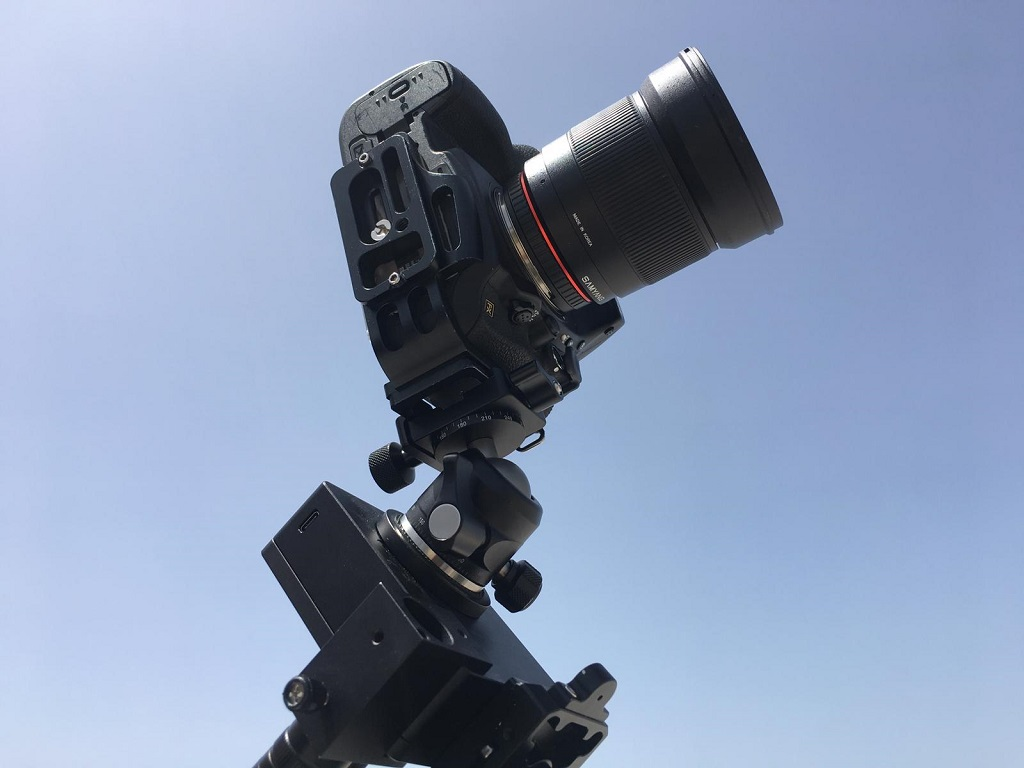 The Sifo Rotator with the Laser pointer and Sunwayfoto XB-28II ball head.