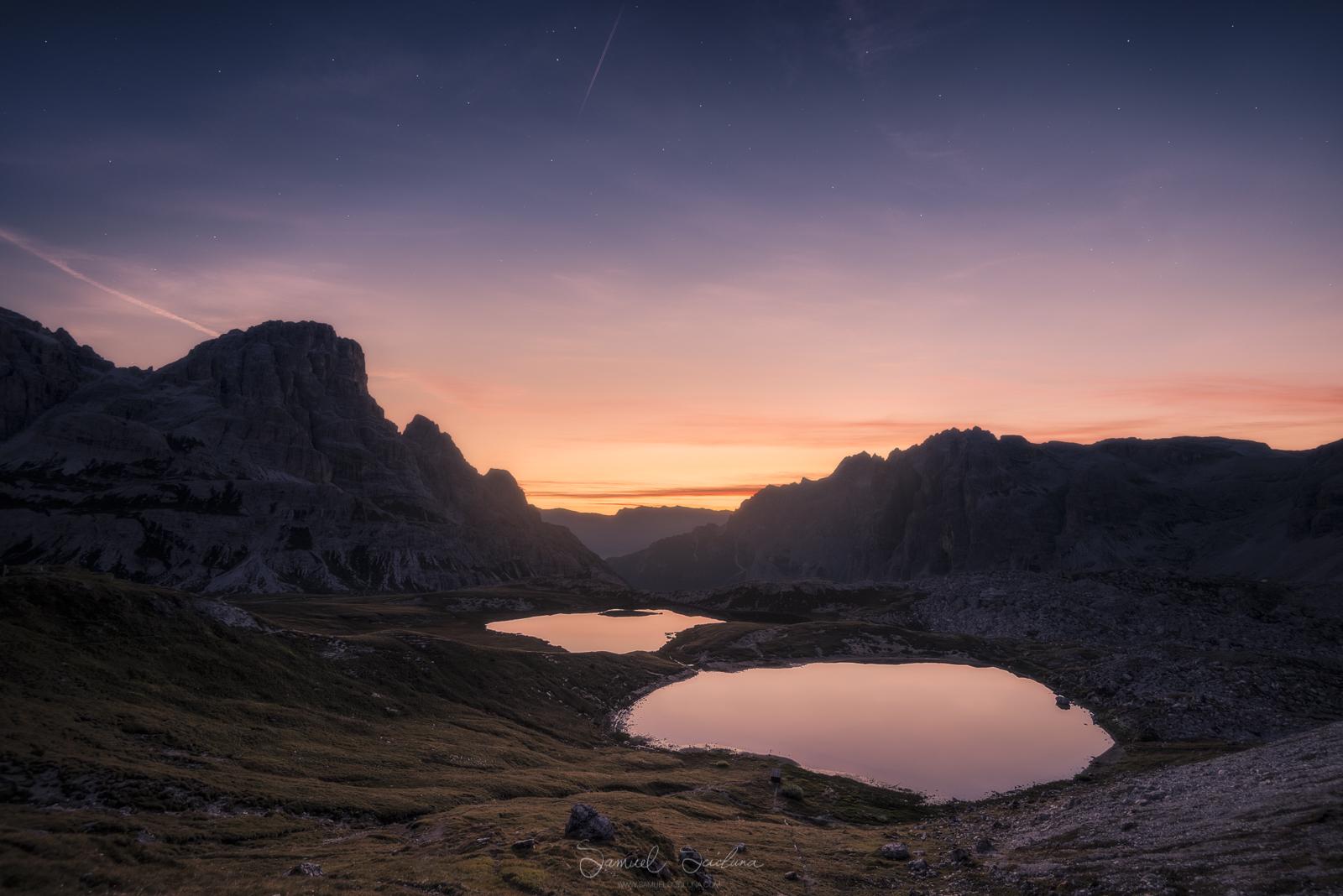 The 'Laghi del Piani' near Monte Paterno before sunrise.