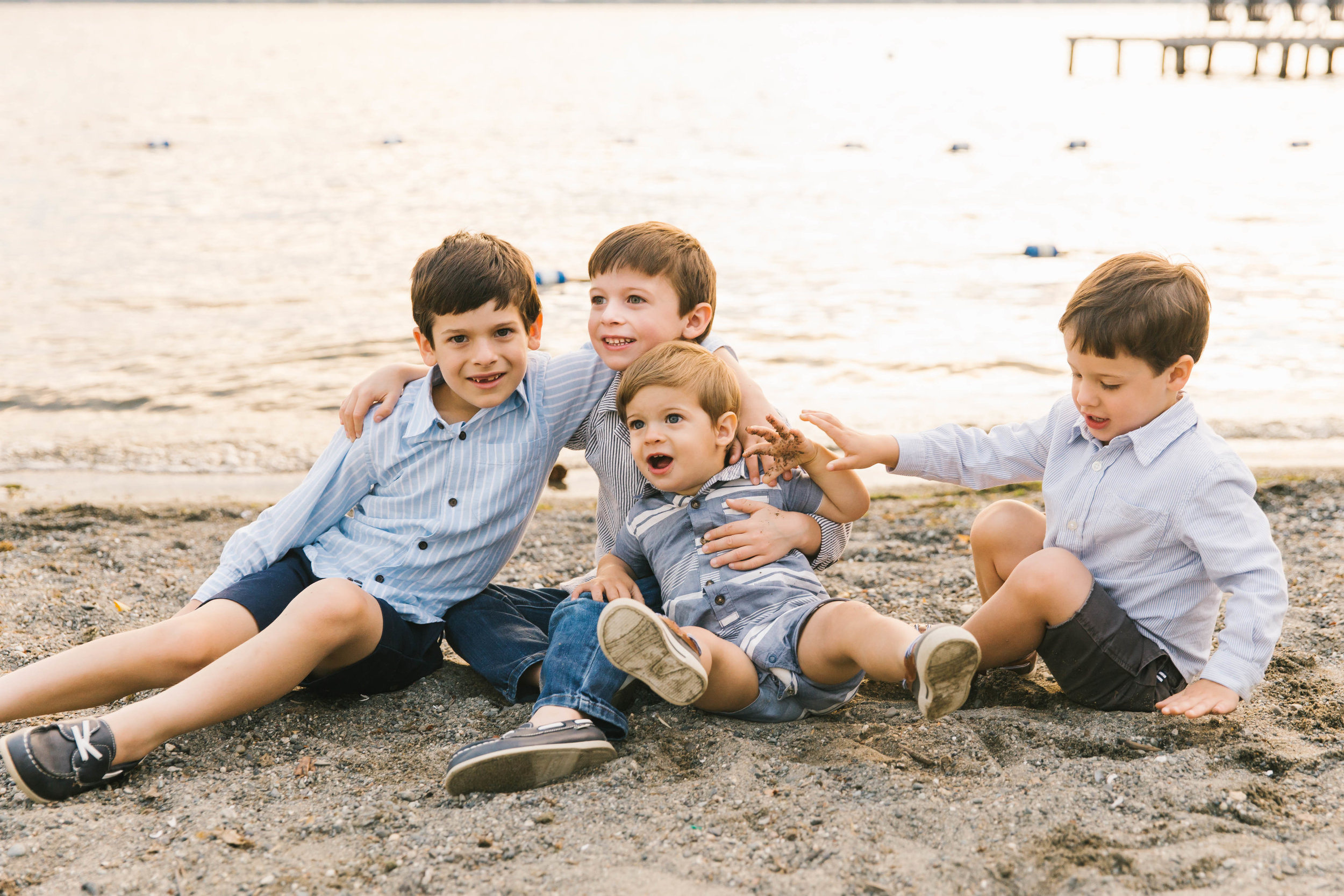 Seattle Family Photography Beach Session Golden Hour Natural Light, Mom and Boys, sunset on the water by Chelsea Macor Photography-22.jpg
