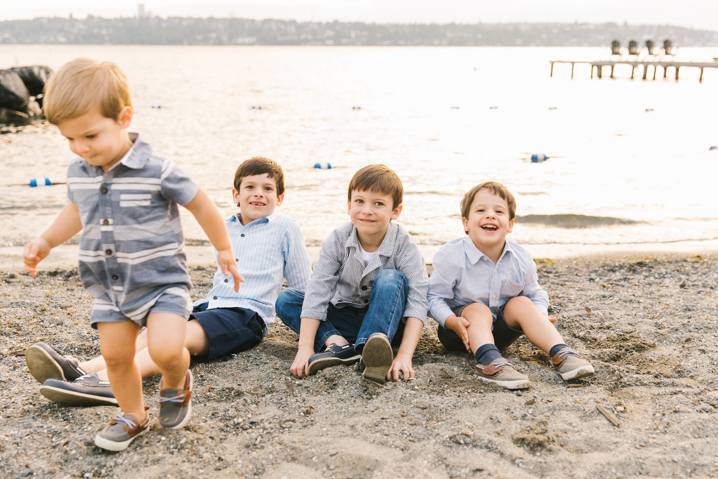 Seattle Family Photography Beach Session Golden Hour Natural Light, Mom and Boys, sunset on the water by Chelsea Macor Photography-21.jpg