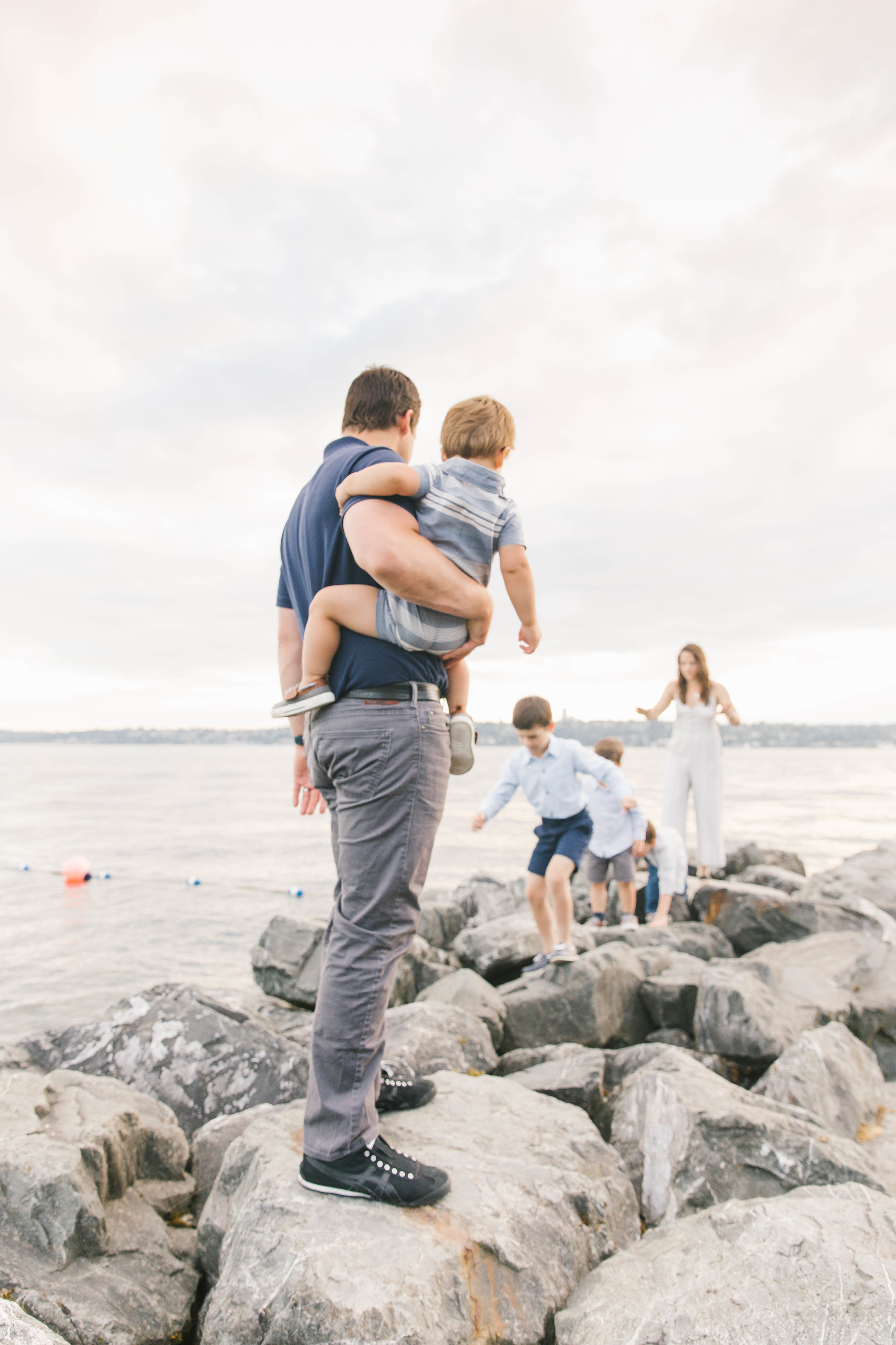 Seattle Family Photography Beach Session Golden Hour Natural Light, Mom and Boys, sunset on the water by Chelsea Macor Photography-5.jpg