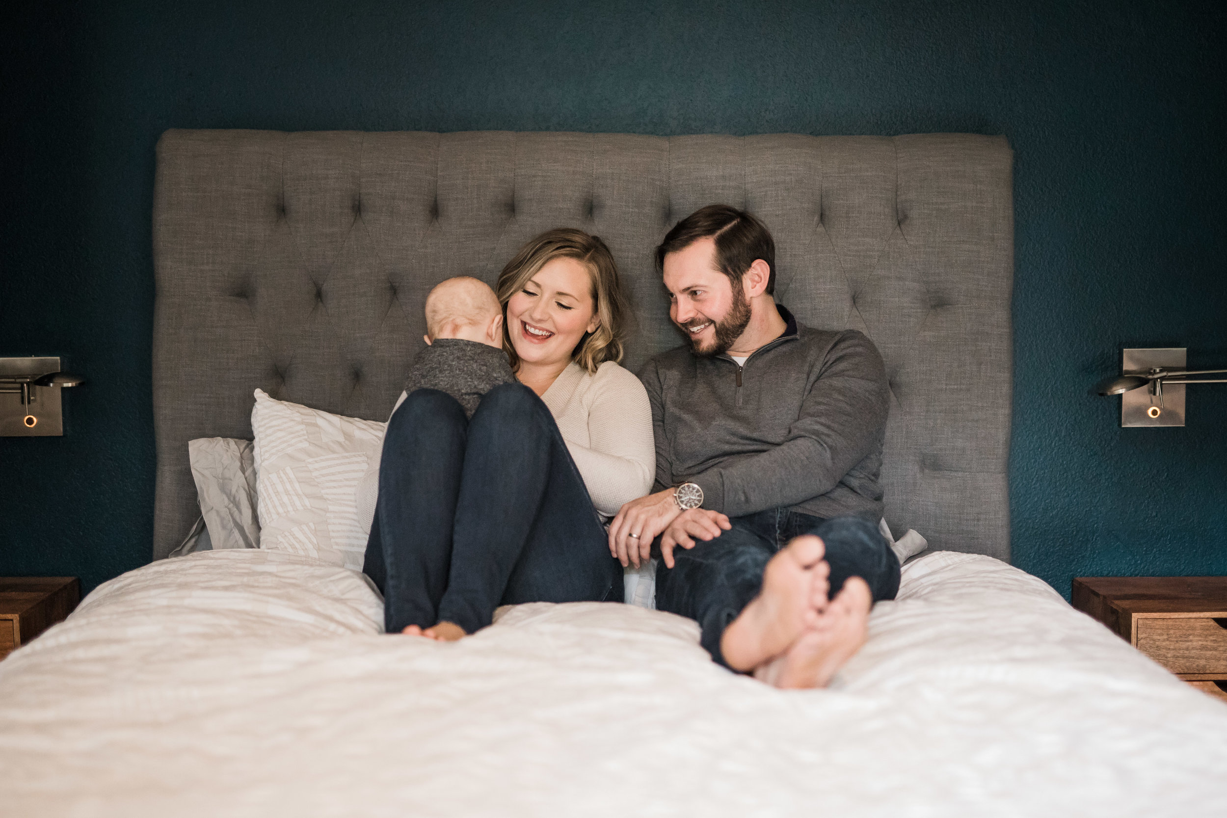 A moody family session with their three year old infant in their home by Seattle family photographer Chelsea Macor