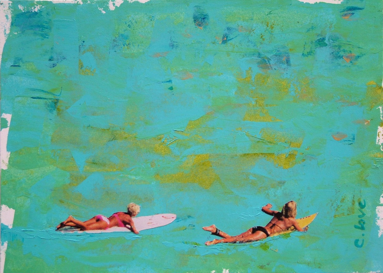 "Sally and Me   Acrylic & Mixed Media on Canvas  20"" x 16"""