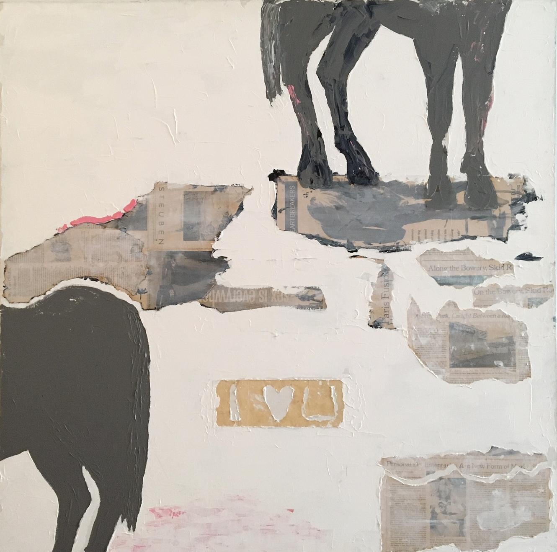"The Last Horse   Acrylic & Mixed Media on Canvas 40""x40"""