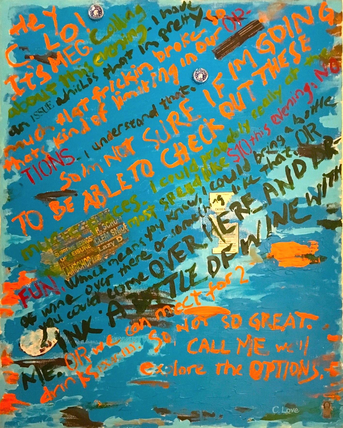 """Meg's Message   Acrylic & Mixed Media on Canvas  22""""x 36"""""""