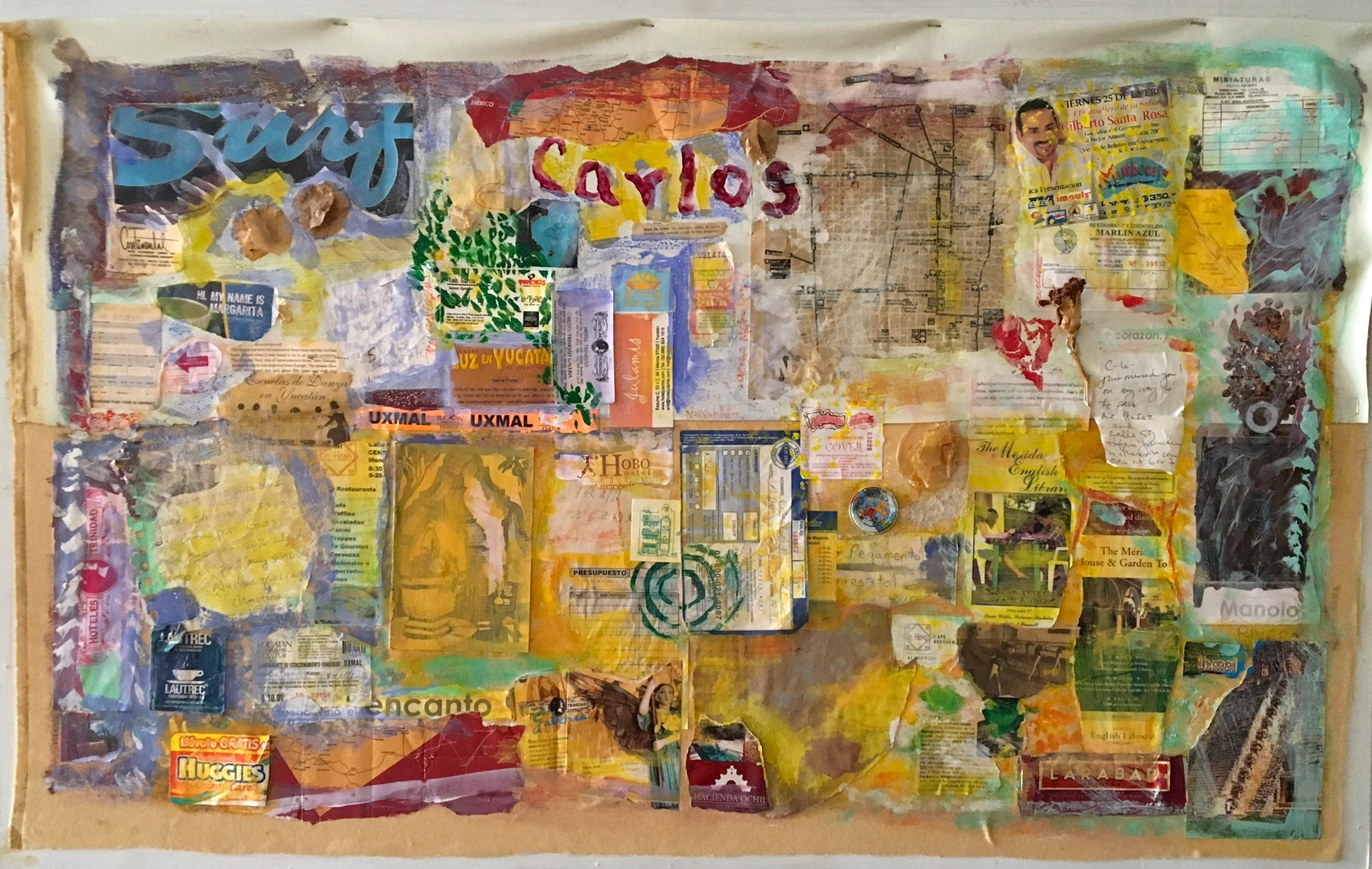 "Carlos in Merida   Acrylic & Mixed Media on Fabric  40"" x 28"""