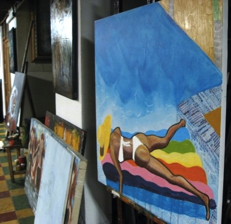 "In the studio-   Vicky Christina Medellin   Acrylic on Canvas 36"" x 24"""