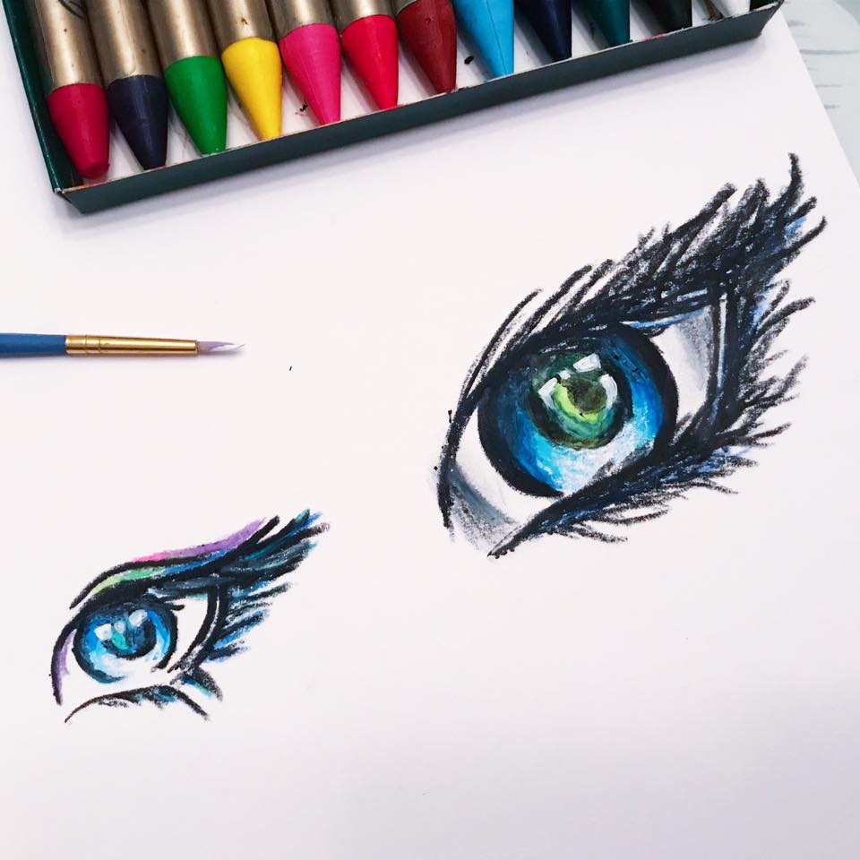 I've been practicing drawing eyes lately. This is with oil pastel and acrylic paint.