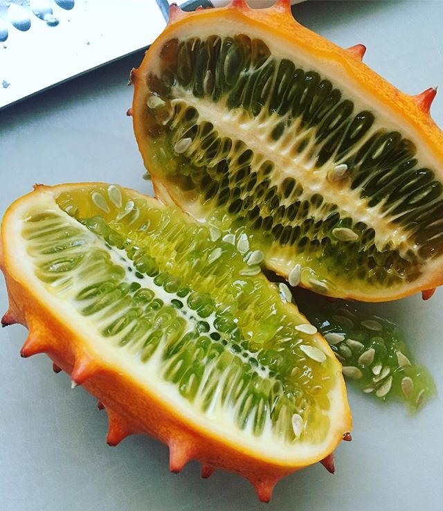 This is a cukeasaurus, aka: horned melon. It's rich in antioxidants, boosts skin vitality and tastes like a cucumber. The more you know 🌈