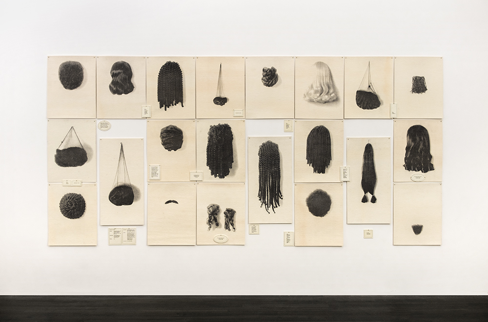 "Wigs (Portfolio), 1994, waterless litho on felt, 72"" x 162"" (installed), edition 15 + 2 AP image © Lorna Simpson, courtesy the artist and Hauser & Wirth"