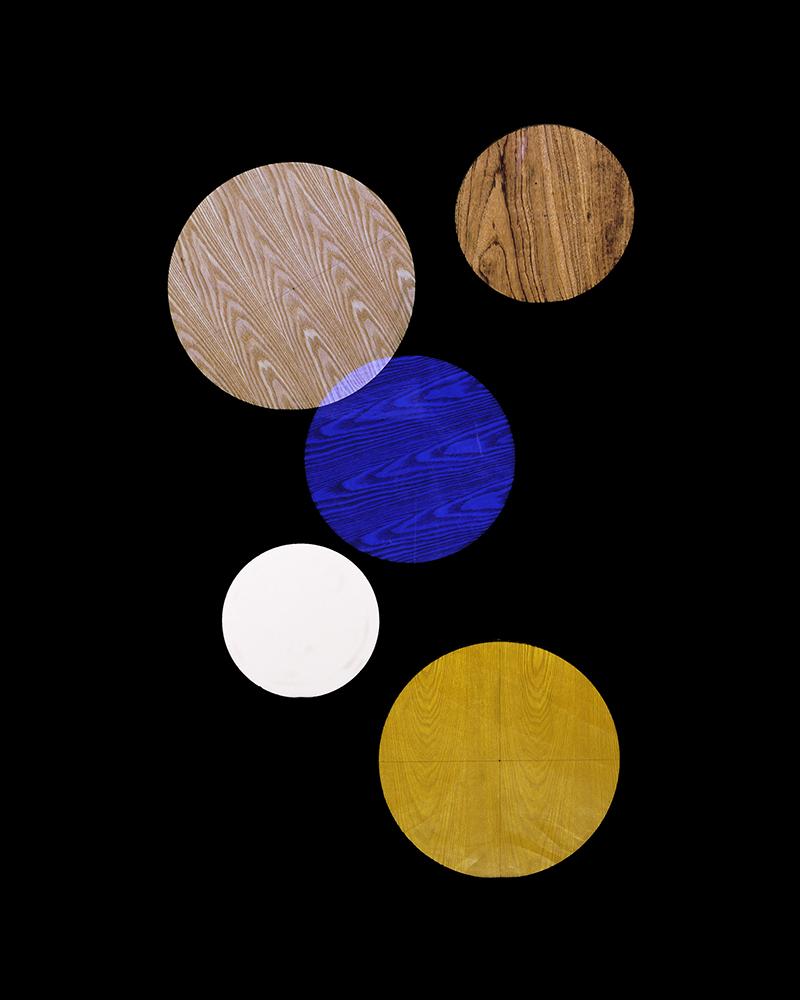 Alejandra Laviada,  Blue, Yellow, White Circles,  2014