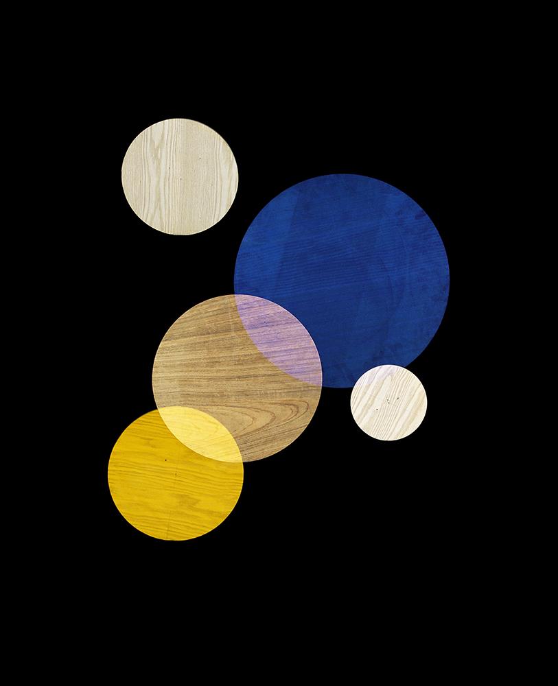 Alejandra Laviada,  Blue, Yellow, White Circles #2,  2014