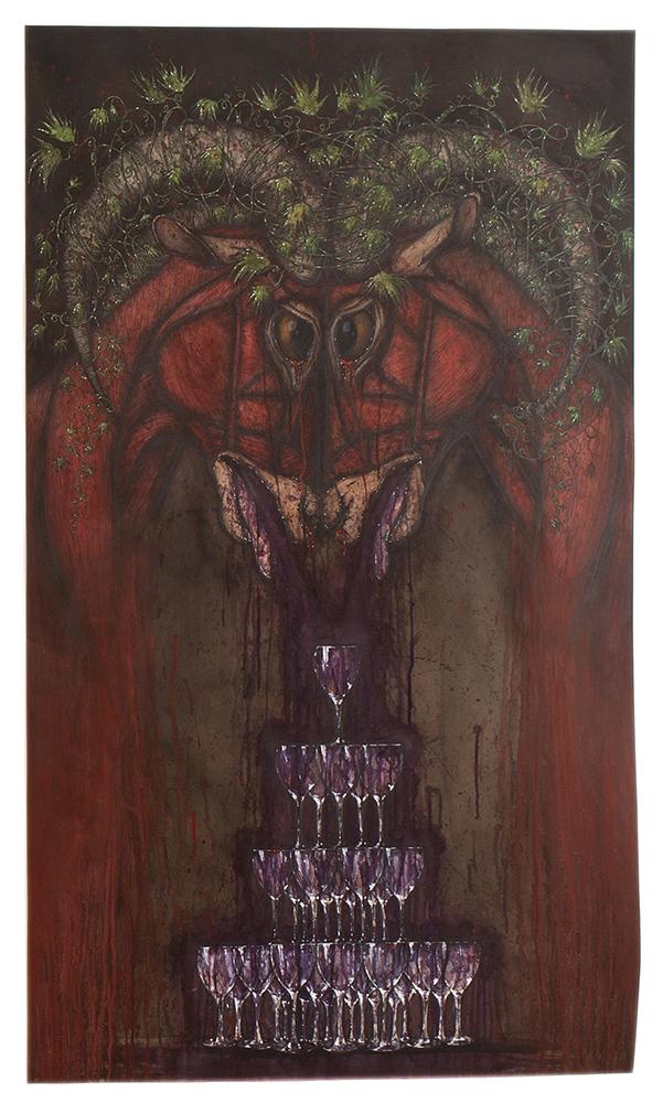 Tara Sellios,  Two Goats,  2014. Watercolor, ink, gouache.