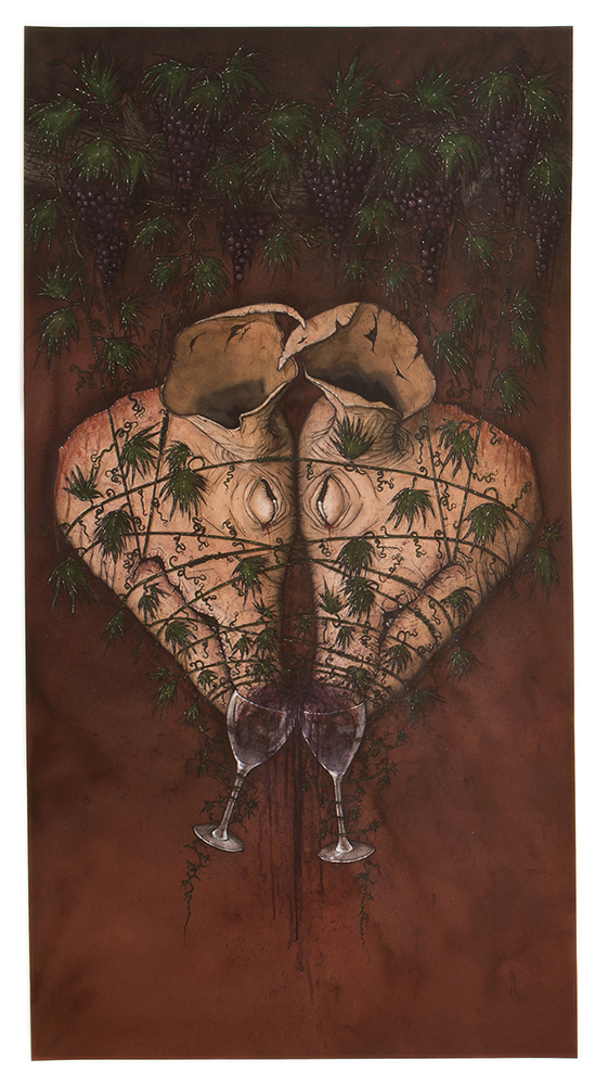 Tara Sellios,  Two Pigs,  2015. Watercolor, ink, gouache.
