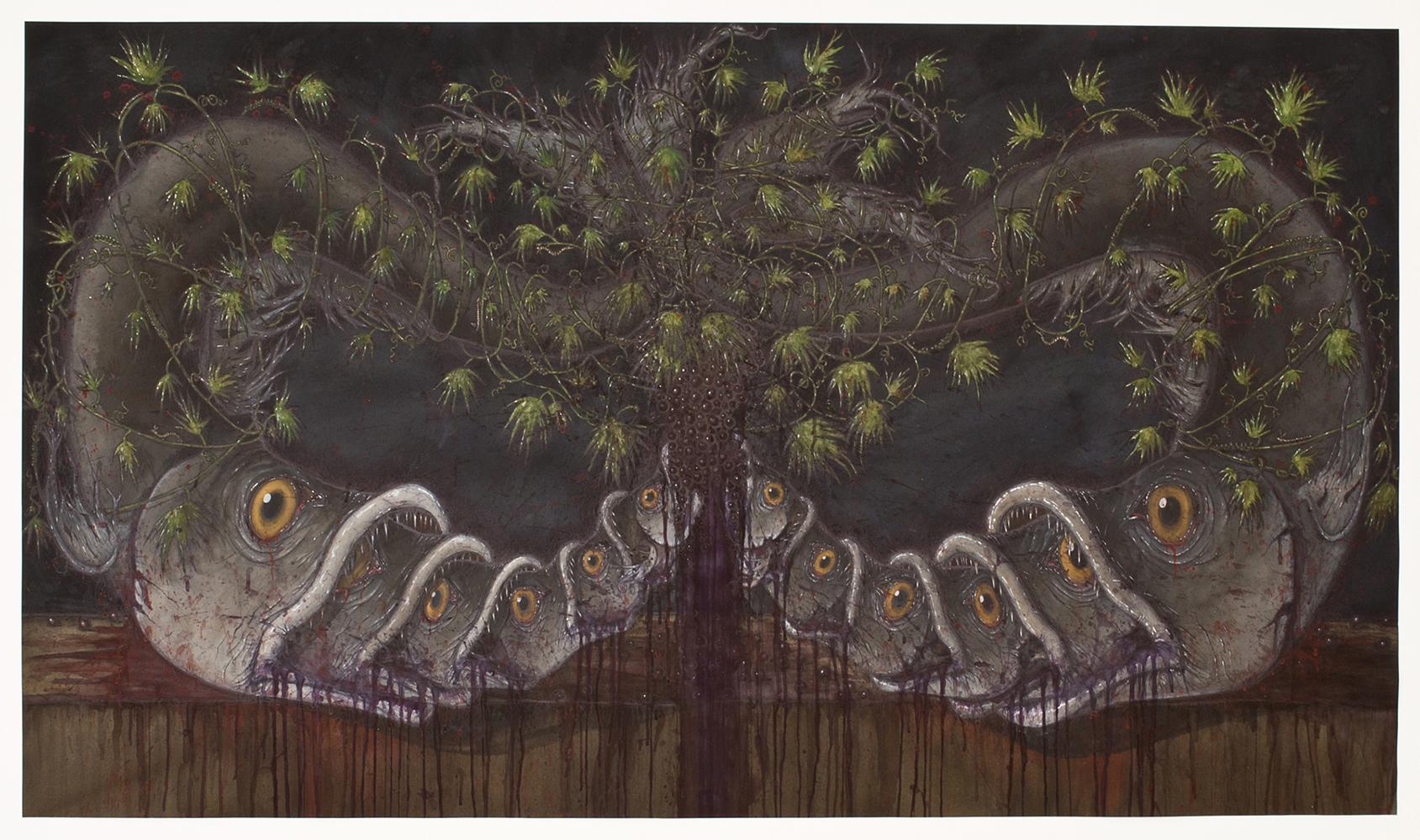 Tara Sellios,  Twelve Fish,  2014. Watercolor, ink, gouache.