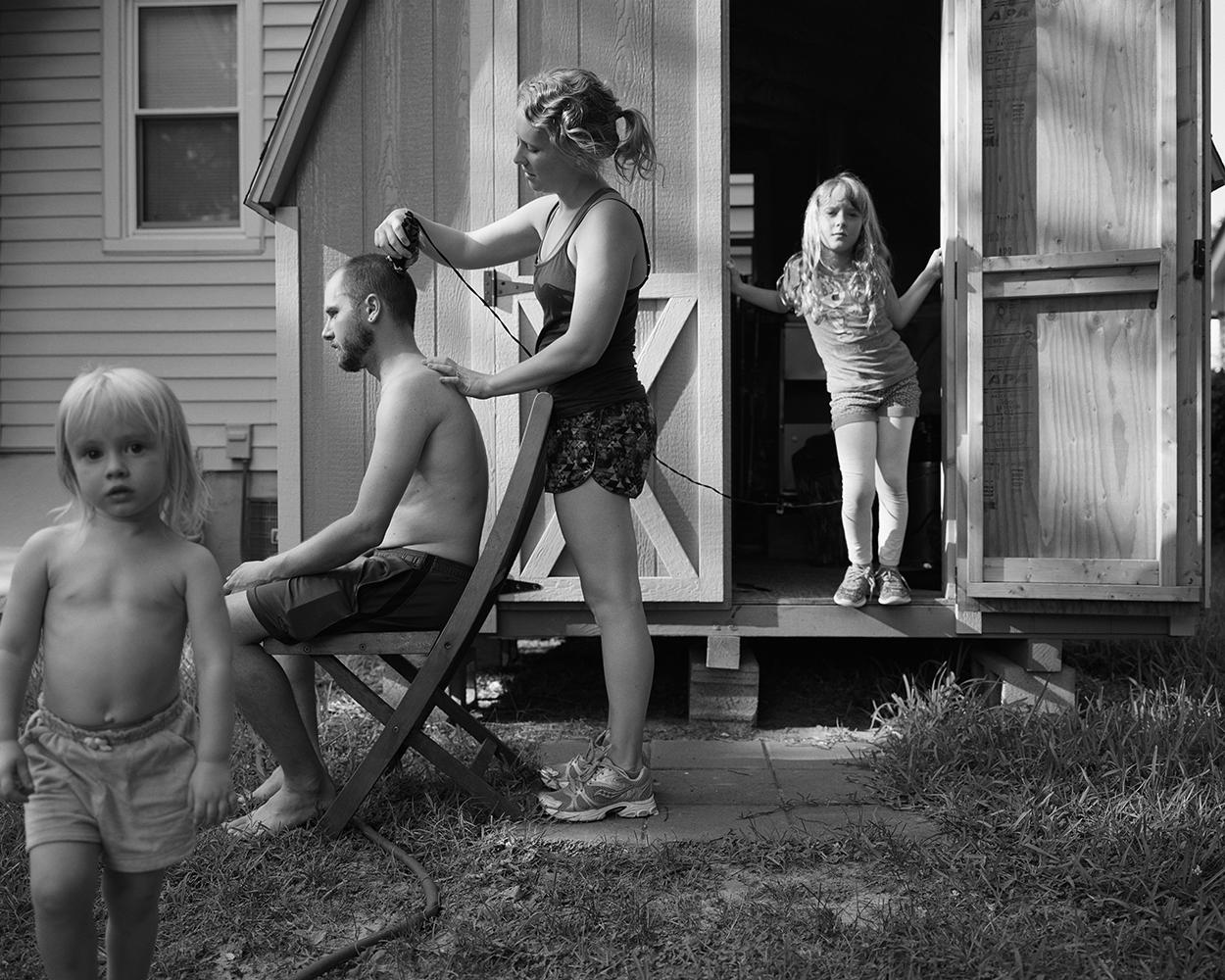Matt Eich,  Backyard haircut ,  Norfolk, Virginia , 2016