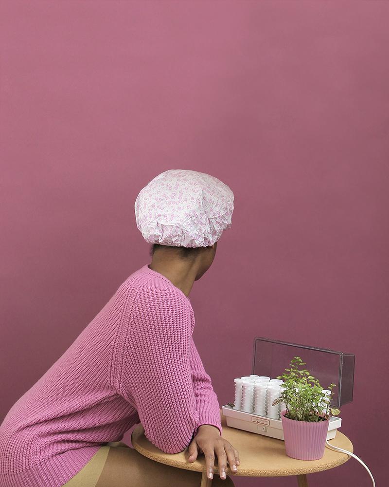 Nakeya Brown,  Self Portrait in Shower Cap  from  Gestures of My Bio-Myth