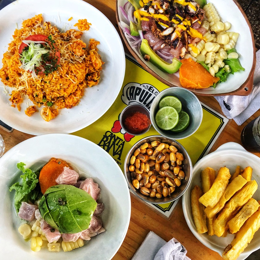 Ceviche apaltado, yuca fries, and arroz con mariscos at Canta Ranita