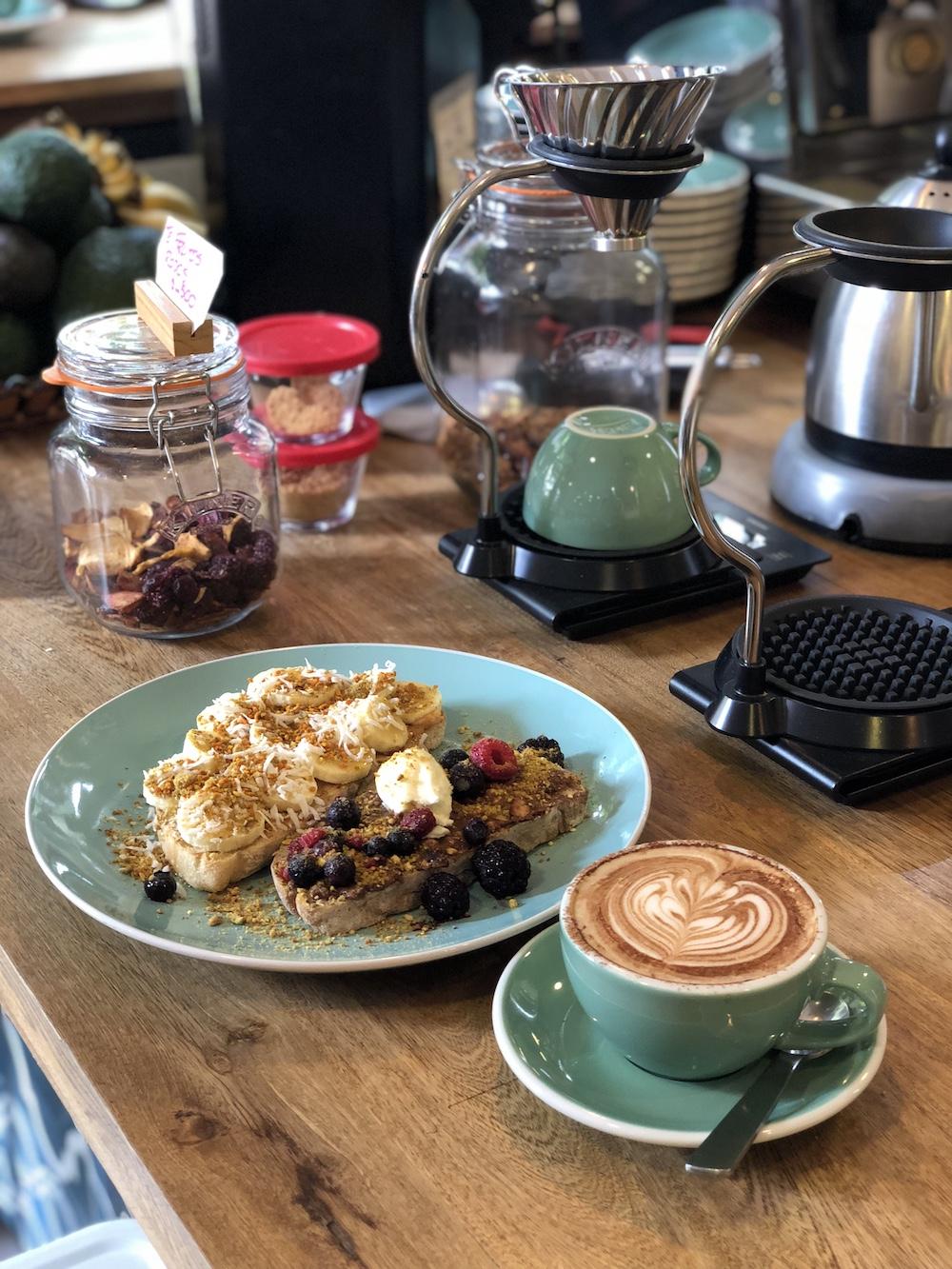 Breakfast toast and coffee at Hija Mija