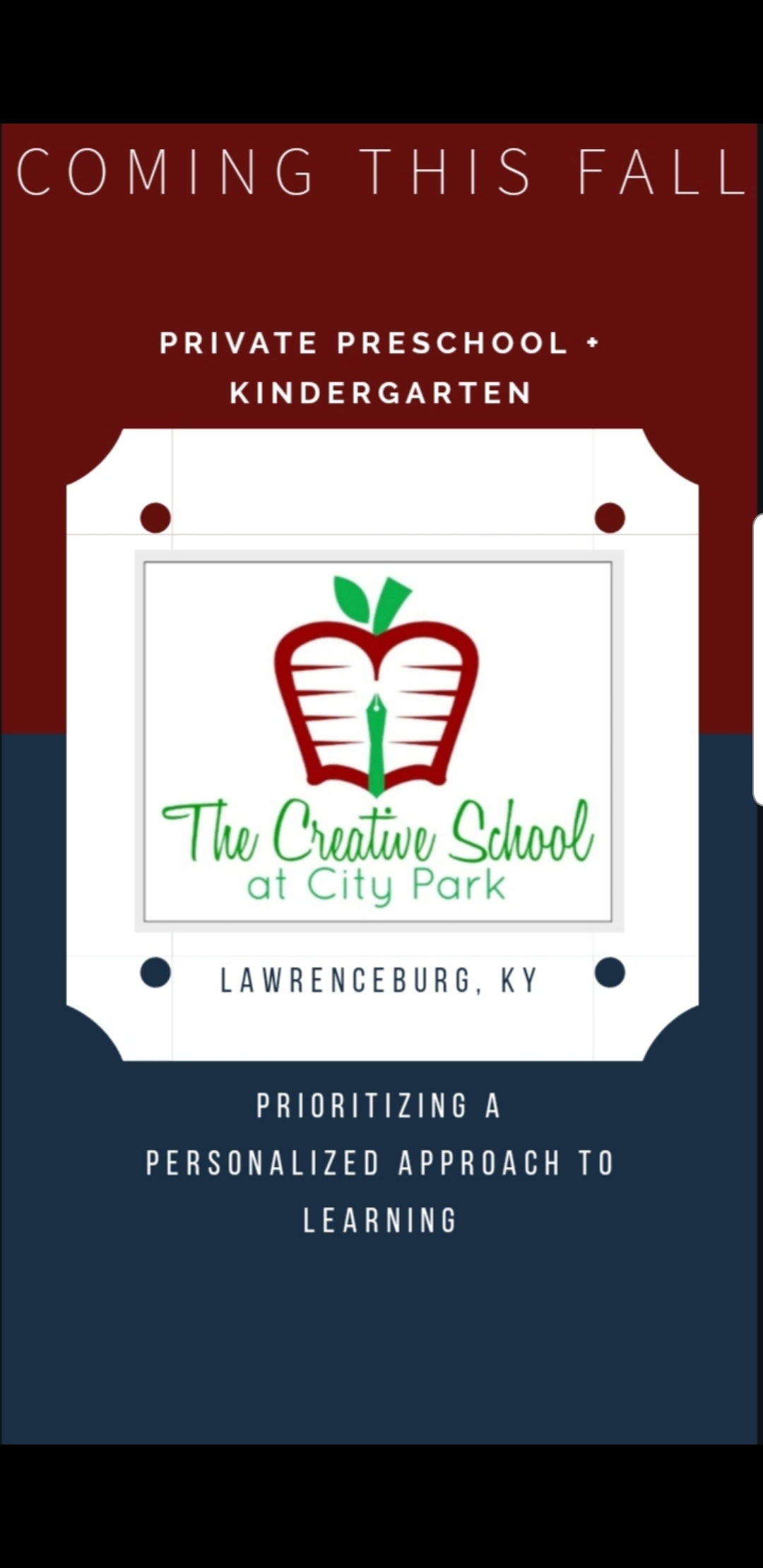 Located in the West Park Plaza of Lawrenceburg, Kentucky, The Creative School at City Park will be opening Fall of 2019! We look forward to continuing a grassroots transformation of early childhood education. Our Reggio-Inspired and Play-Based Model prioritizes a personalized approach to learning.