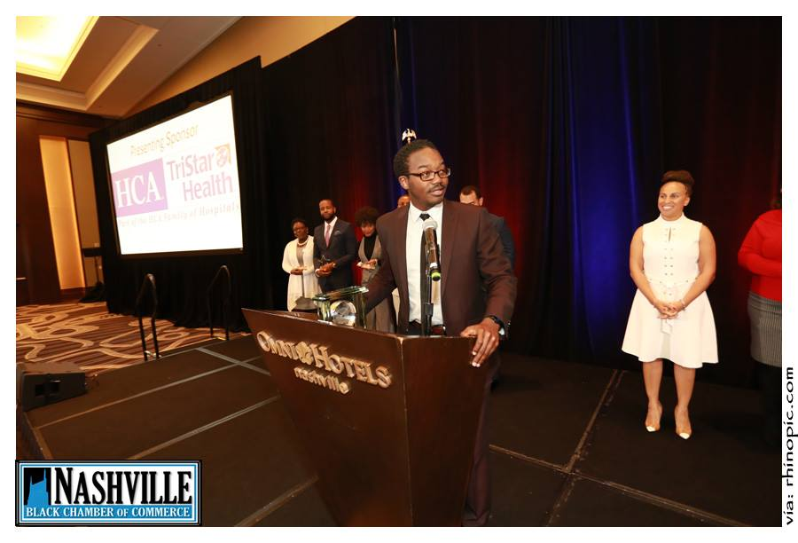 Bill McCleskey accepts the Business of the Year Award from the  Nashville Black Chamber of Commerce  in 2016.  Bill now serves on the Board of Directors of the Nashville Black Chamber of Commerce and the Membership Chair.