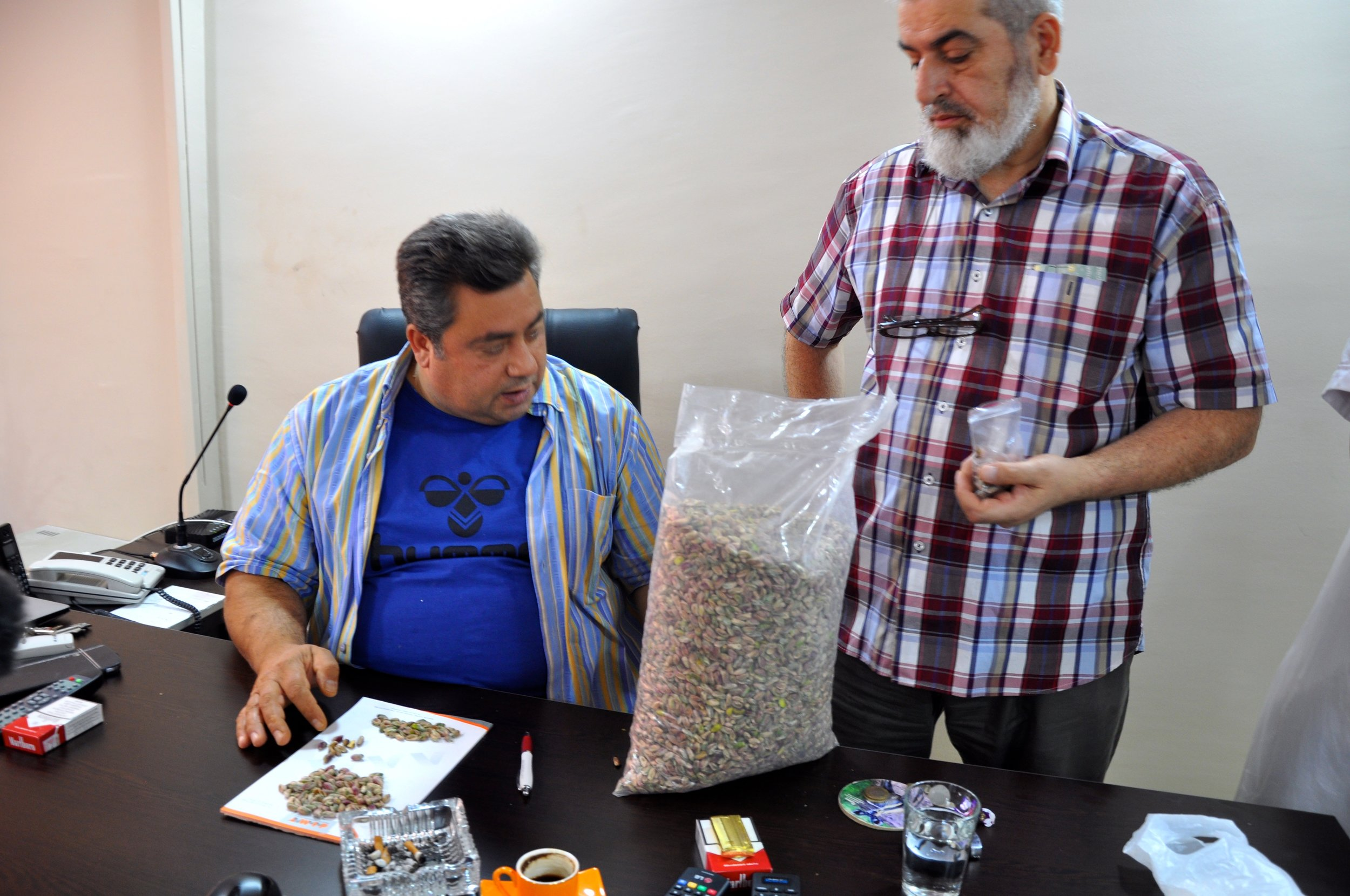 As'ad Salloura examines pistachios for sticky, nutty sweets in his office at the factory where Salloura desserts are made. (Photo by Lauren Bohn)