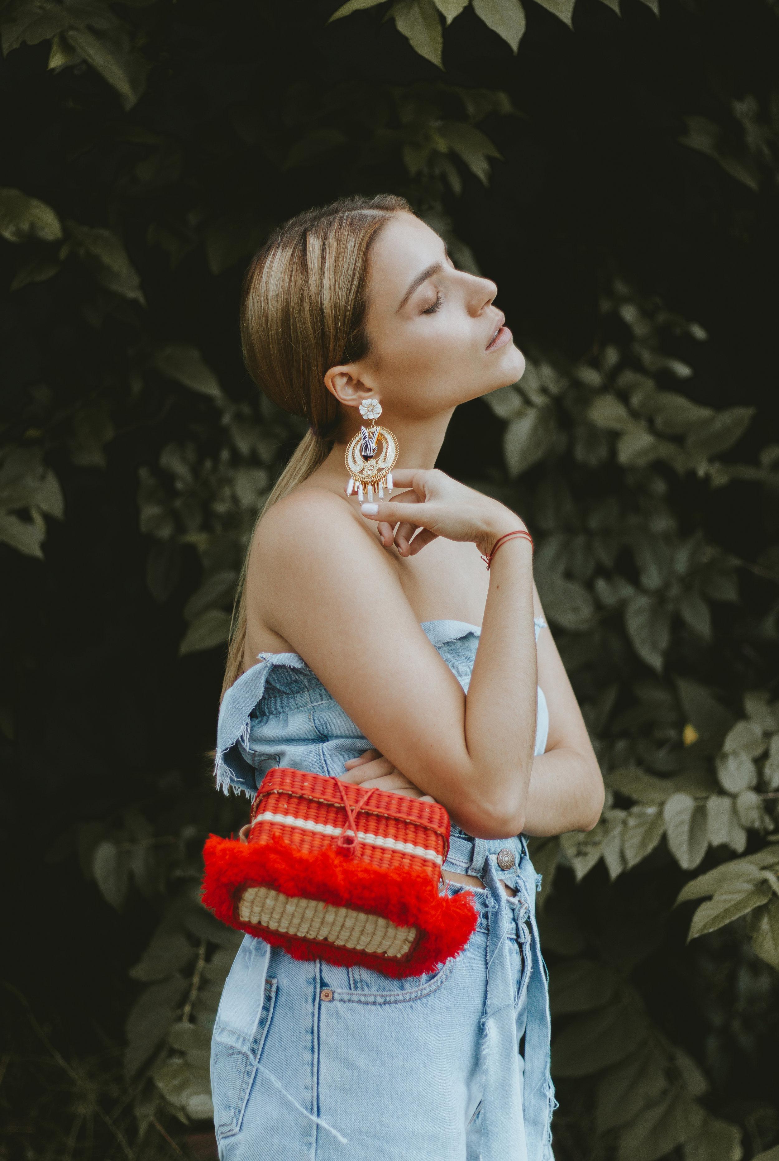 Andrea Kader tube top  Levi's reworked denim  Mercedes Salazar earrings via Corazon de Piña