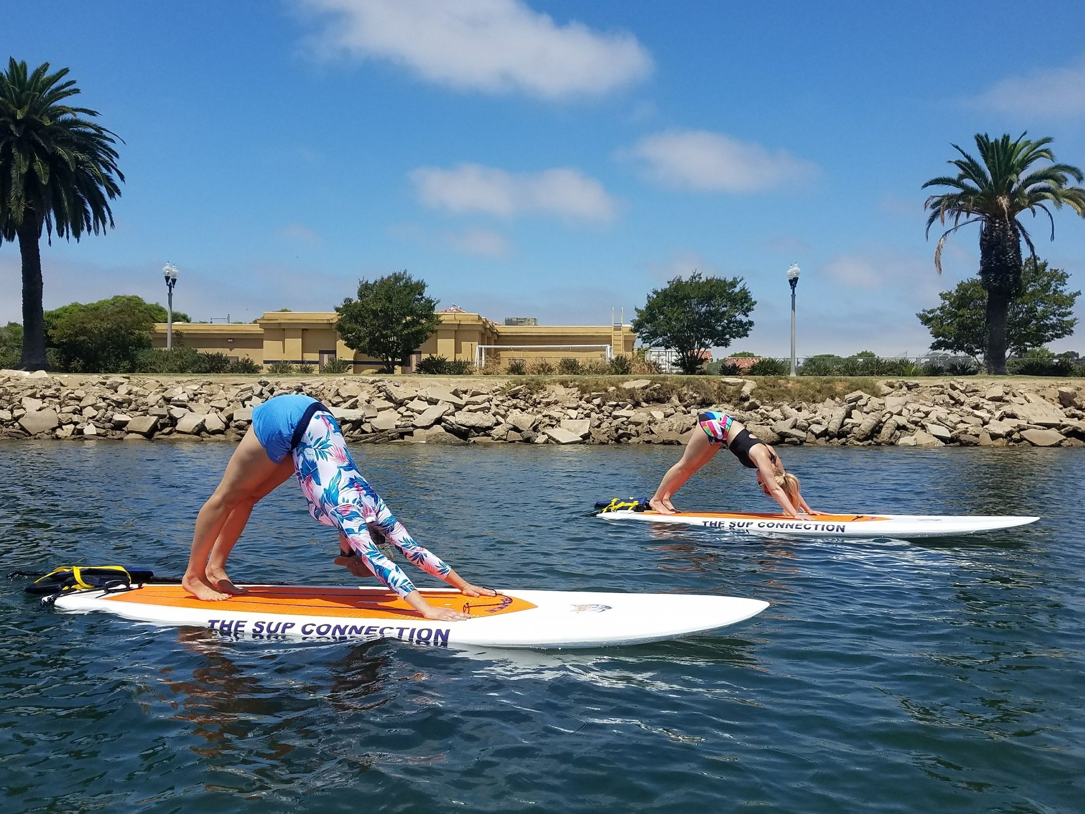 SUP Yoga with SunChaser SUP in San Diego, California.