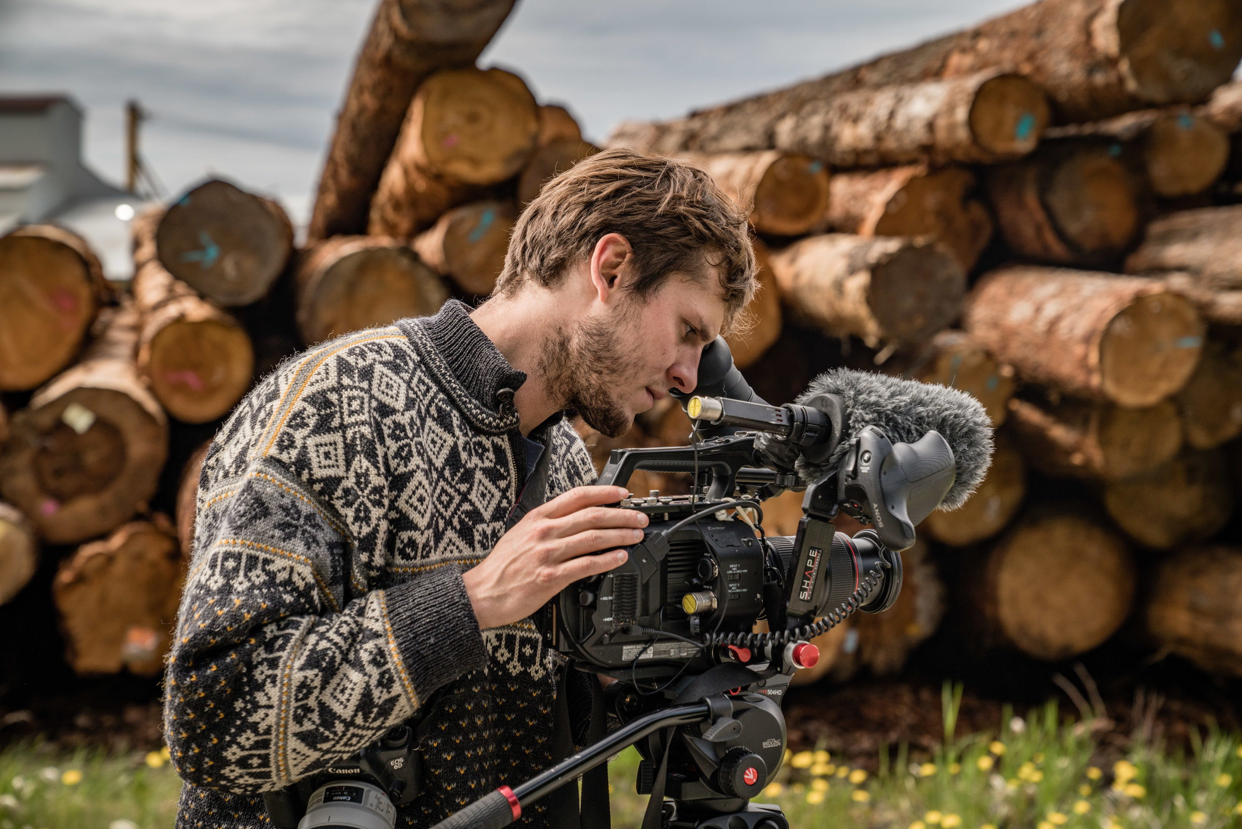 Filmmaker Gleb Mikhalev captures footage of Viking Mill on Prince of Wales Island. Photo: Colin Arisman