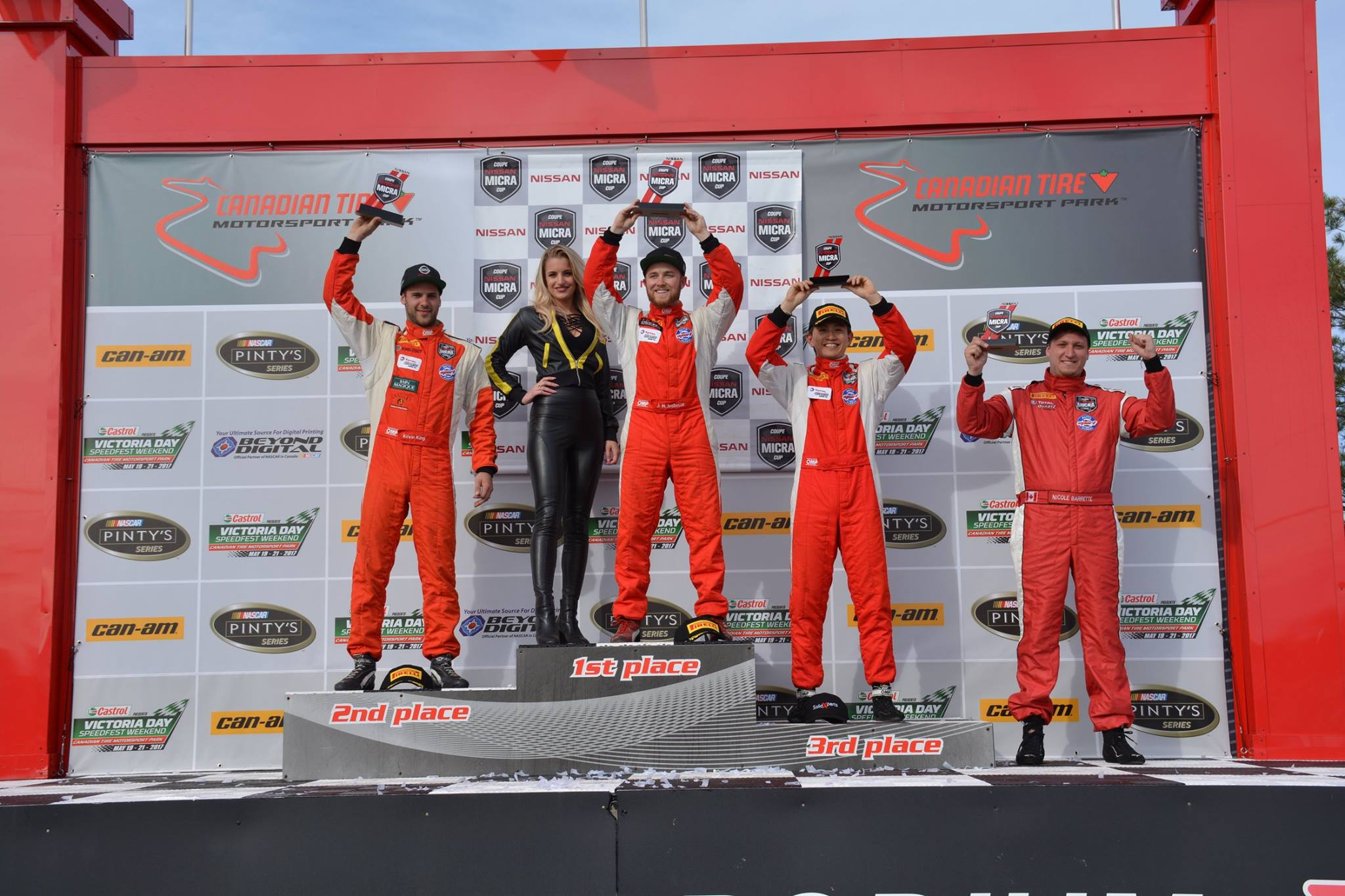 Race 1 Podium: After putting it all on the line just to be on the grid there was one key emotion. Relief. (Photo: Nissan Micra Cup Facebook)