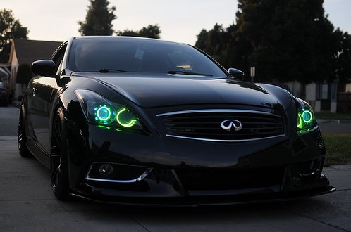 #FrontEndFriday is here! Take a look at this #InfinitiG37 that received the works in RGB treatment.  Installation: -Profile RGB Quad Halos -RGB Demon Eyes -RGB Iron Man Mod -TSX R Clear Lenses -5500k D2S Bulb Upgrade -Full Gloss Black Housings  For more pictures of this build check out our website www.evilheadlights.com 😈