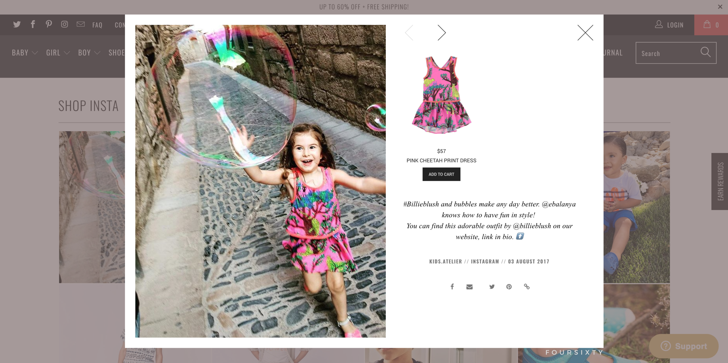 Shoppable Lookbook - The lookbook is pulling selected images from our Instagram feed and we can link them to items in the shop with an immediate 'add to cart' function and easy navigation back or next.