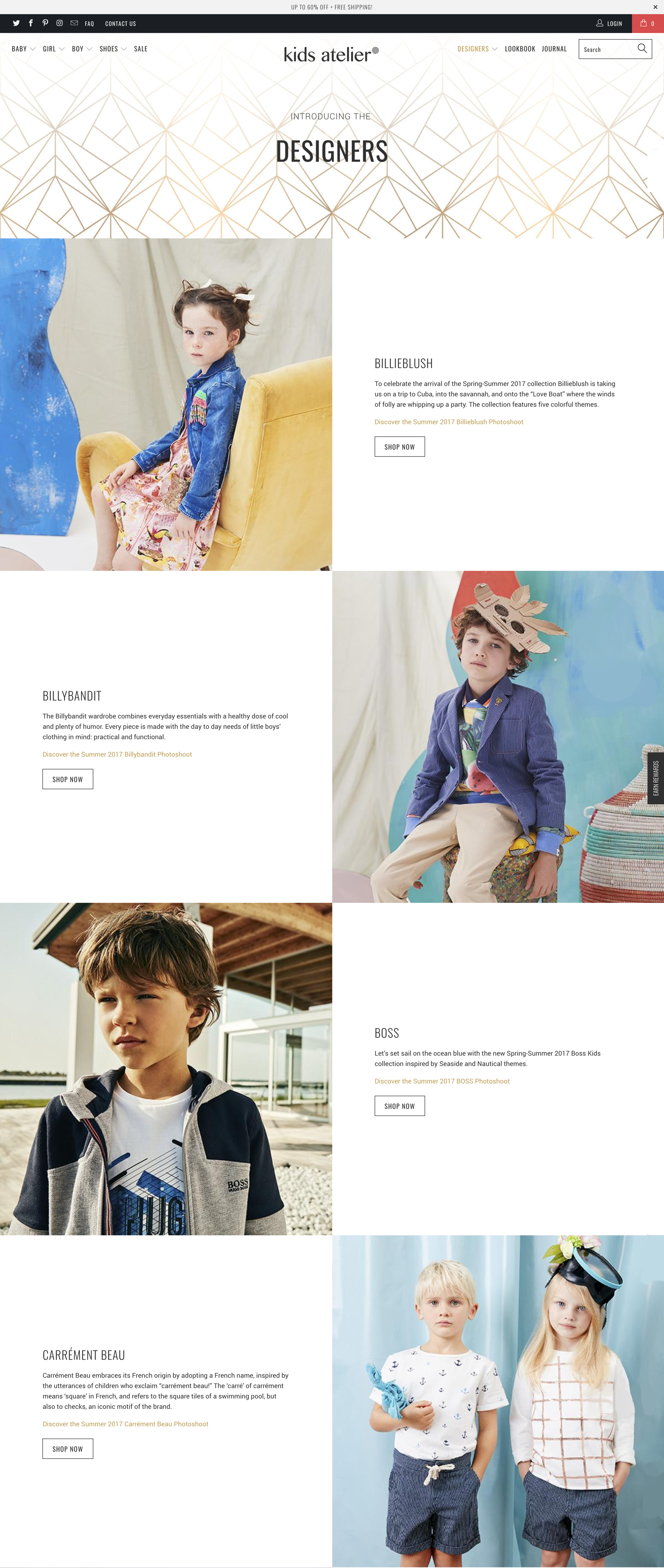 Designers Page - To highlight the curated collection of these international brands across the spectrum of styles from creative bohemian to classic chic.