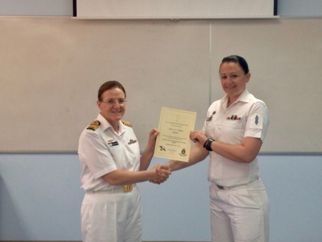 PIC 21    2013 – HMAS STIRLING – My Leading Seaman Promotion Course (Commanding Office of HMAS Stirling presenting me with my certificate).jpg