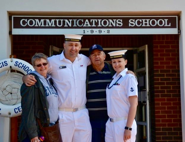 PIC 23    2016 – HMAS CERBERUS - Me and my family at the Cerberus Open Day (Mum - Dawn, Brother – Damien (was also serving at the time) and Dad - Ray.jpg