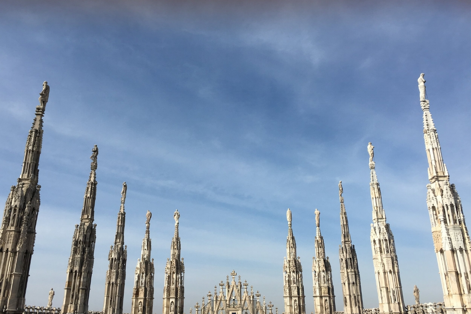 on the roof of the Duomo in Milan