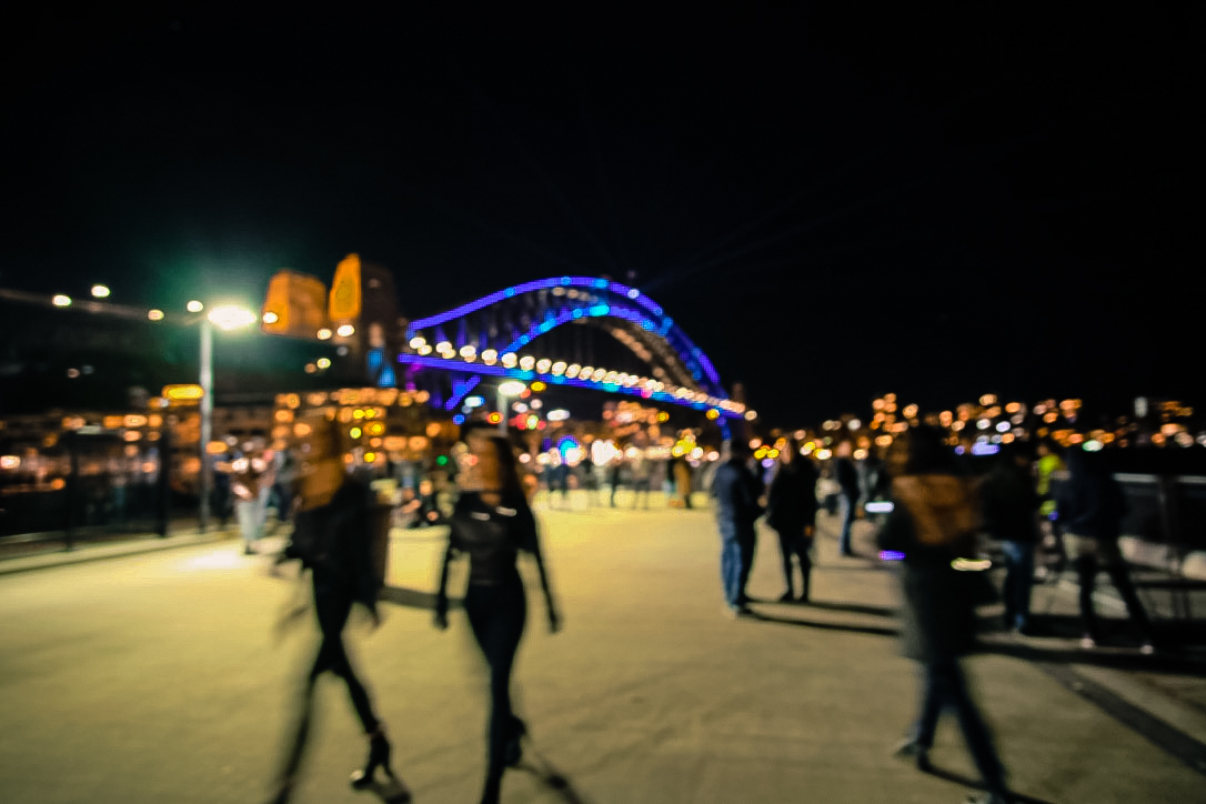 the iconic Harbour Bridge stands out against the dark night