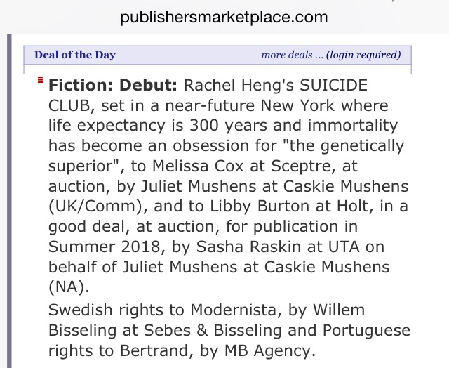 The deal was covered in The Bookseller, BookBrunch and was also Publishers' Marketplace's Deal of the Day!